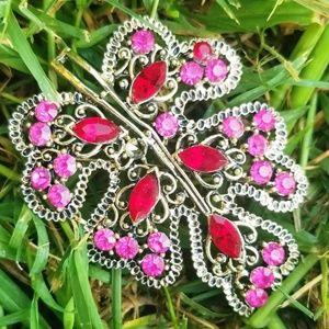 Vintage Pink & Red Rhinstone Large Leaf Brooch